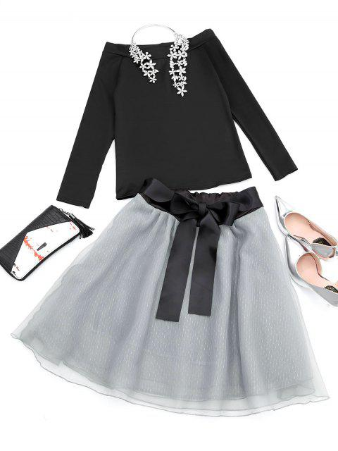 affordable Off The Shoulder Tee and Skirt Set - BLACK ONE SIZE Mobile
