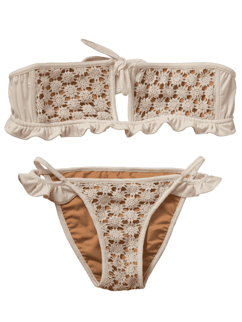 ladies Frilled Crochet Bandeau Bikini Set - BEIGE S Mobile