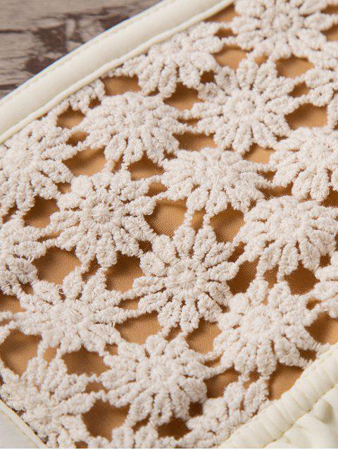 women's Frilled Crochet Bandeau Bikini Set - BEIGE M Mobile