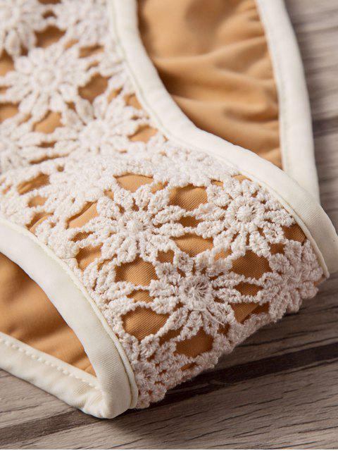 women Frilled Crochet Bandeau Bikini Set - BEIGE L Mobile
