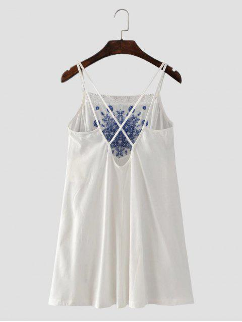 unique Floral Embroidered Criss Cross Cami Dress - WHITE L Mobile