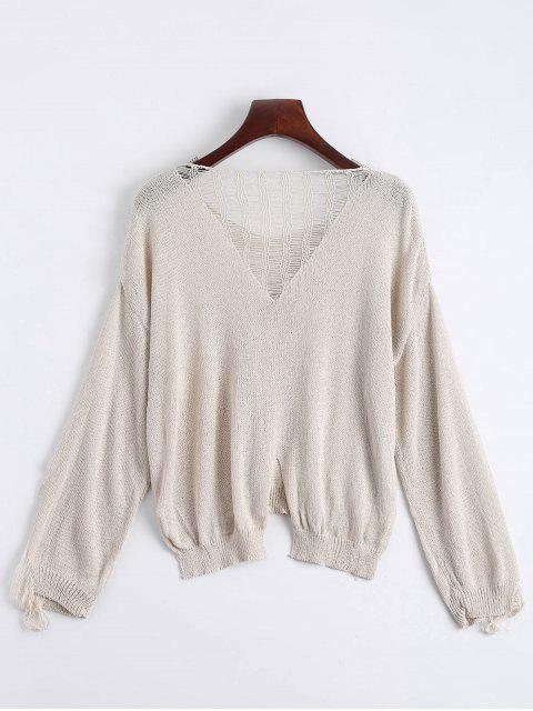 fancy V Neck Ripped Long Sleeve Knitted Top - APRICOT ONE SIZE Mobile