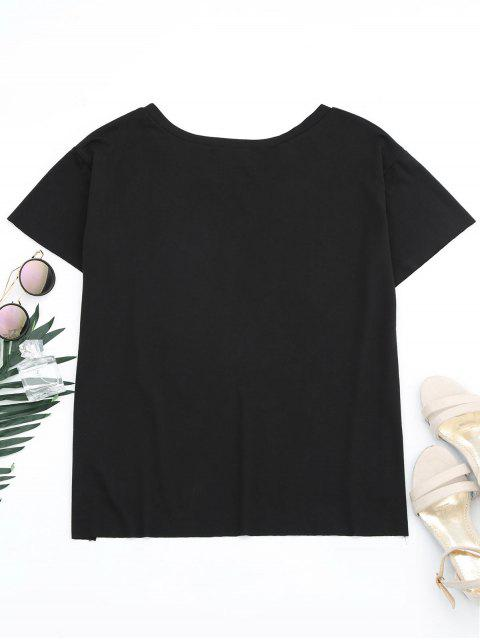 outfits Floral Patched Slit Drop Shoulder Tee - BLACK S Mobile