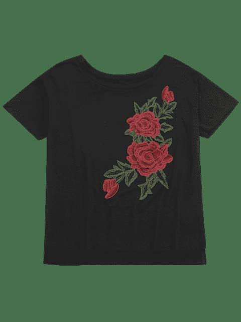 shops Floral Patched Slit Drop Shoulder Tee - BLACK L Mobile