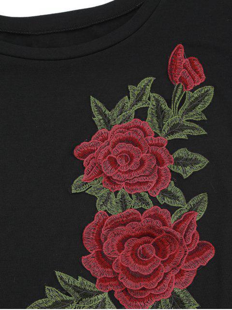 latest Floral Patched Slit Drop Shoulder Tee - BLACK XL Mobile