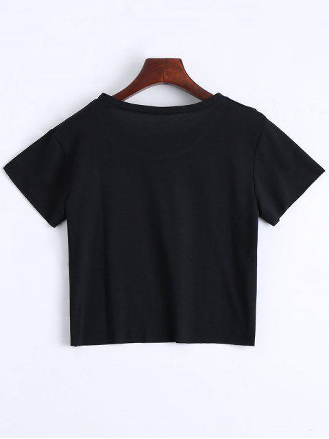 fancy Round Collar Floral Patched Crop Tee - BLACK XL Mobile
