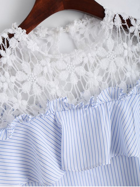 outfit Stripes Ruffles Lace Panel Top - STRIPE S Mobile