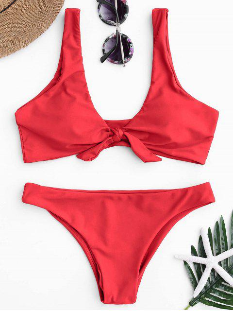 Knotted Scoop Bikini Top y partes inferiores - Rojo L Mobile