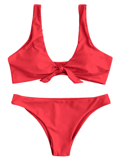 womens Knotted Scoop Bikini Top and Bottoms - RED S Mobile