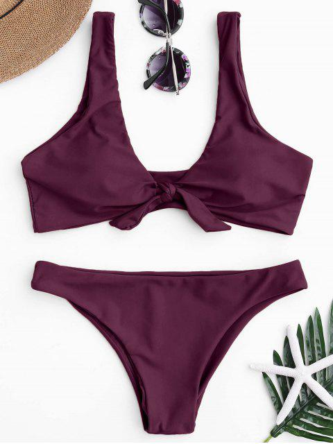 fashion Knotted Scoop Bikini Top and Bottoms - MERLOT L Mobile