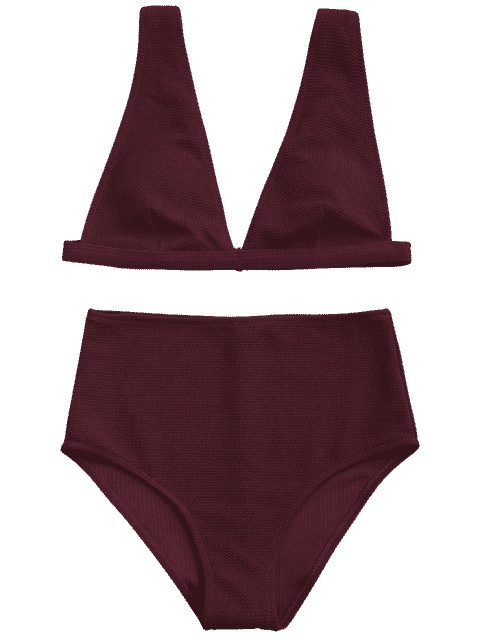 outfits Textured Plunge High Waisted Bikini Set - BURGUNDY S Mobile