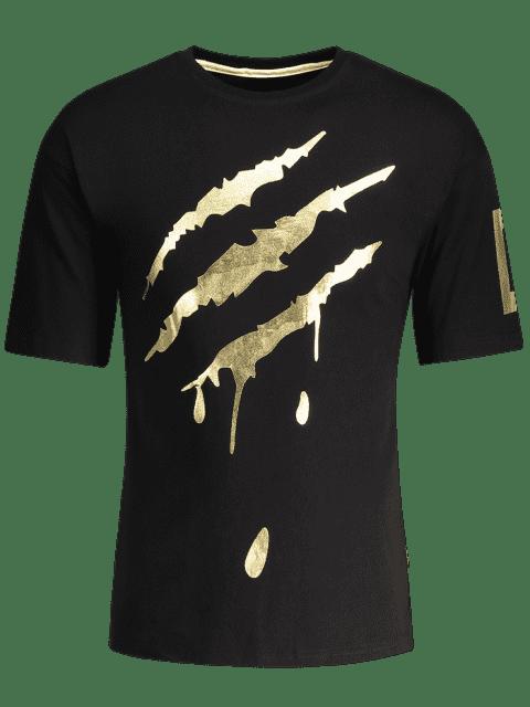 hot Crew Neck Men Gold Foil Tee - BLACK XL Mobile