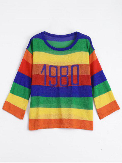 outfits Contrast Letter Graphic Knitted Top - COLORFUL ONE SIZE Mobile