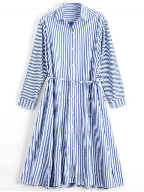 hot Long Sleeve Belted Stripes Shirt Dress - STRIPE S Mobile