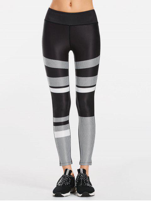fashion Color Block Patterned Yoga Leggings - BLACK XL Mobile