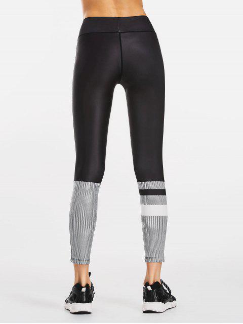 fancy Color Block Patterned Yoga Leggings - BLACK M Mobile