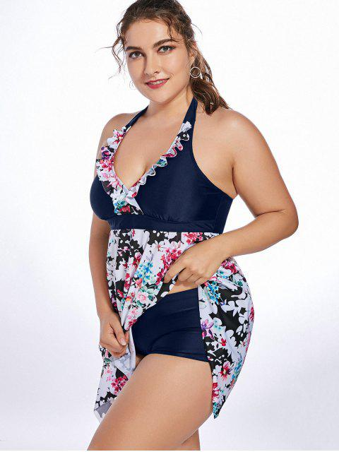 trendy Halter Floral Handkerchief Plus Size Tankini Set - PURPLISH BLUE 3XL Mobile