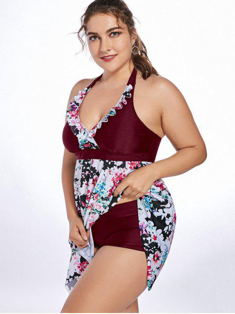 fancy Halter Floral Handkerchief Plus Size Tankini Set - WINE RED 5XL Mobile