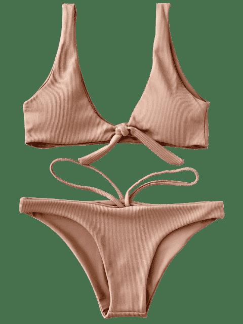 unique Knotted Textured Scoop Bikini Set - CAMEL L Mobile