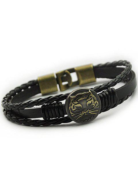 fancy Tiger Patterned Braid Faux Leather Bracelet - BLACK  Mobile