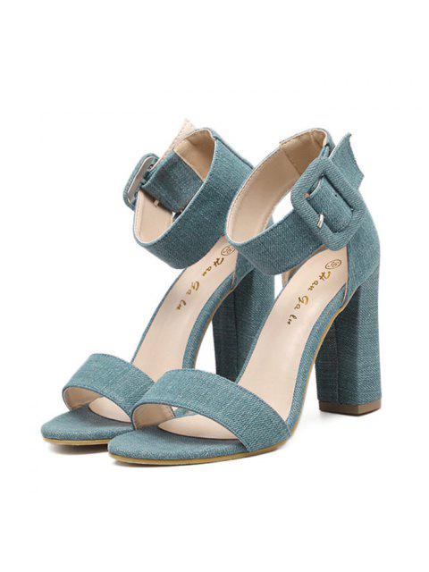womens Denim Ankle Strap Block Heel Sandals - BLUE 38 Mobile
