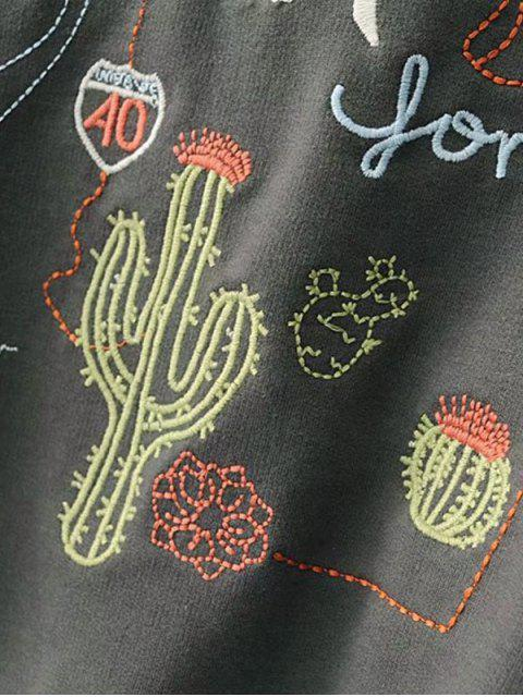 sale Drop Shoulder Letter Cacti Patched Tee - GRAY M Mobile