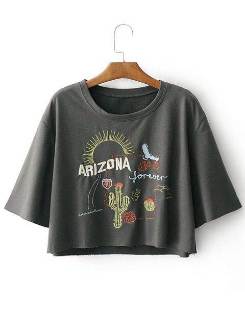 T-shirt à Motif Cactus et Lettre Épaule Tombante - Gris L Mobile