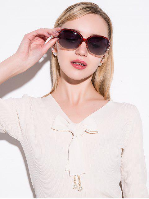 womens Hollow Cut Anti UV Sunglasses - TEA-COLORED  Mobile