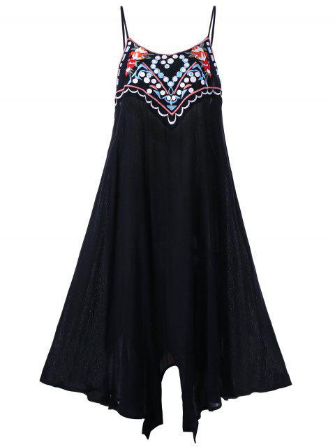 ladies Plus Size Embroidery Slip Summer Dress - BLACK 2XL Mobile