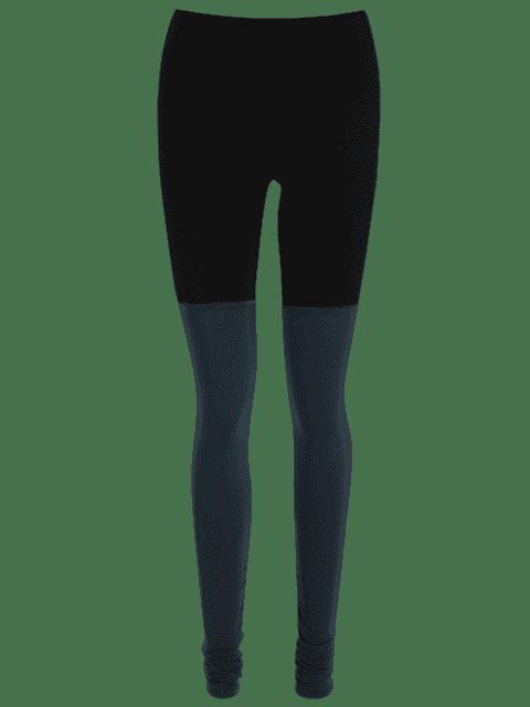 shop Color Block Overlength Ruched Sporty Leggings - BLACK L Mobile