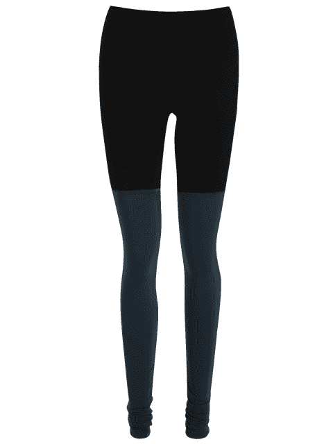 latest Color Block Overlength Ruched Sporty Leggings - BLACK S Mobile