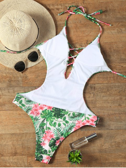 outfits Halter Floral Criss Cross Swimwear - COLORMIX M Mobile