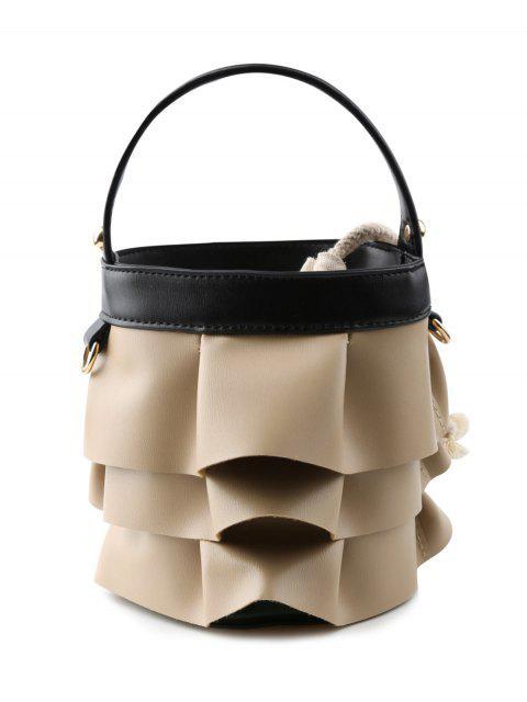 latest PU Leather Ruffles Handbag - BLACK  Mobile