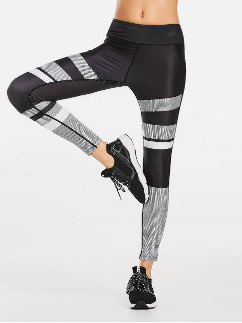 fashion Color Block Patterned Yoga Leggings - BLACK XL Mobile