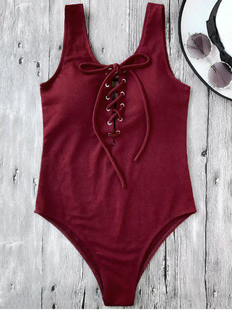 outfit Textured Padded Lace Up One Piece Swimsuit - BURGUNDY S Mobile
