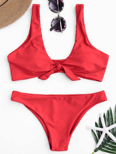 cc9a8f08a7 Knotted Scoop Bikini Top And Bottoms - Red L