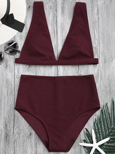 9bd9e51db97 Textured Plunge High Waisted Bikini Set - Burgundy M ...