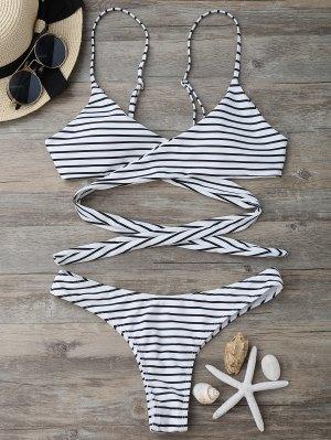 Bikinis Rayé Paddé à Bretelles  - Blanc Et Noir M