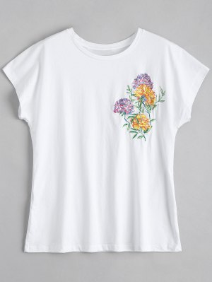 Cotton Loose Floral Embroidered T-Shirt - White Xs