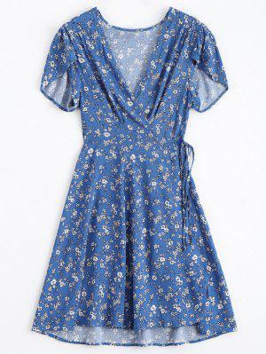 Tiny Floral Plunging Neck Wrap Dress - Blue L
