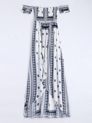 Off Shoulder Smocked Printed Front Slit Maxi Dress - White M