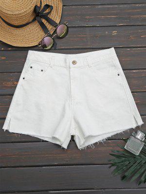Side Slit Cutoffs Denim Shorts - White 34