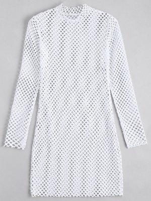 Vestido Ceñido Trasparente Con Manga Larga - Blanco S
