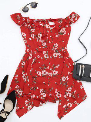 Ruffles Halter Floral Asymmetric Romper - Red L