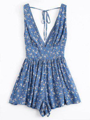 Tiny Floral Plunging Neck Smocked Romper - Blue L