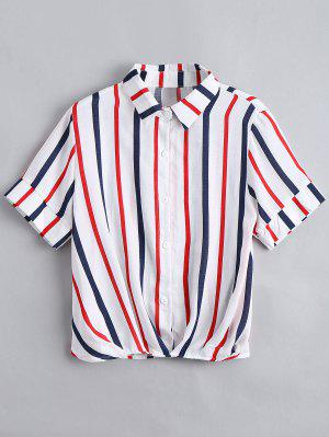 Botón De Las Rayas Sueltas Camisa - Rojo