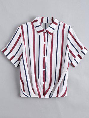 Button Down Loose Stripes Shirt - Purplish Blue