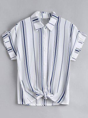 Button Down Stripes Bowknot Top - Stripe