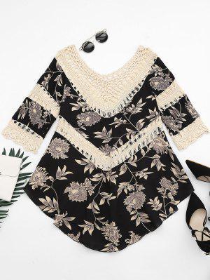 Blusa Assimétrica Do Painel Do Crochet Da Cópia Floral - Damasco