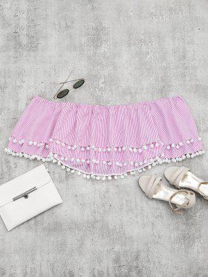 Blusa Com Grânulos De Listrado Com Listrado Embellished - Rosa S